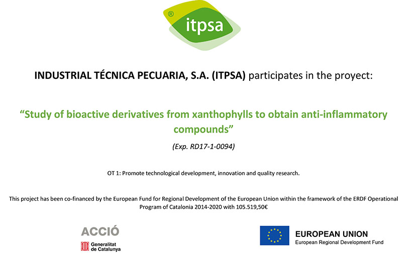 Image showing ITPSA's participation in the Xantal project Study of bioactive xanthophyll derivatives to obtain anti-inflammatory compounds.